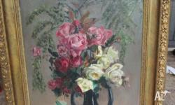 Beautiful still life oil on canvas painting of roses.