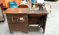 Antique Singer No.66 Treadle Sewing Machine in Cabinet