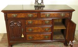 Antique English Burr Walnut Sideboard/Buffet/Credenza