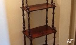 Antique style walnut 4 shelf Whatnot. An excellent