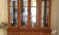 Antique single unit display cabinet Teak stained