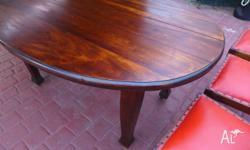 LOVELY ANTIQUE TIMBER OVAL DINING TABLE WITH MATCHING