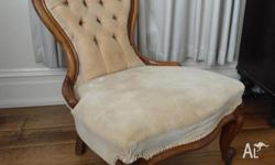 Genuine Victorian Grandmother/Grandfather chair. Cream