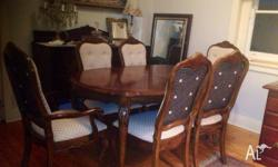 French Luis antique dining 7 pices six chairs and two