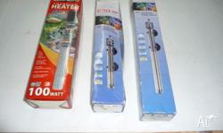 Aquarium heaters and lights for sale. Heaters are new