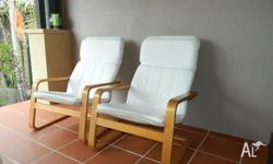 Ikea Poang Arm Chairs Birch Veneer and washable Covers