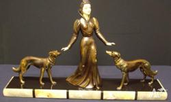 Quality Art Deco Marble and Spelter Statue in Mint
