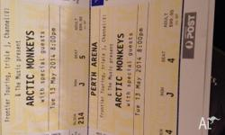 2x seated artic monkeys tickets for 13th may 2014 in