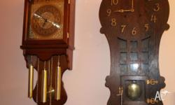 The clock on the right is an eight day key wind