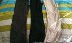 Assorted girls pants 10/12. Black grey cream. New