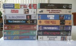Assorted video movies, some watched once, some not at