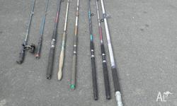 have a assortment of fishing rods for sale 1 x 4mt one