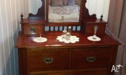Colonial style red cedar dressing table, with mirror,
