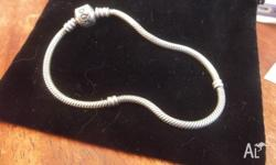 Authentic Pandora Sterling Silver Bracelet, 18cm long,