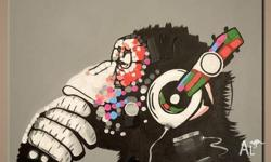Awesome hand painted Hipster Monkey with Headphones