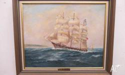 This is an original vintage water colour Tall Ship