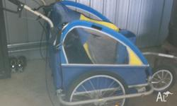 Up for grabs is this bike trailer which also converts