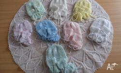 Hand-Knitted Baby Bonnet & Booties Set. Choose from a