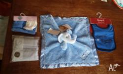 1. Blue elephant comforter 2. 3 pack of pale blue