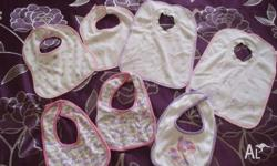 Baby girl bibs x 7, $5 Dresses, shorts, tops, size 1,