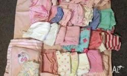 Box of Baby Girls Clothes, mixed season, total of 37