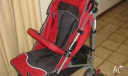 stroller (very light, adjustable layback positions,