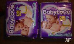Two packs brand new newborn nappies. Baby love brand,