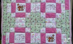 Hand made baby quilts, 100% cotton, top, batting and