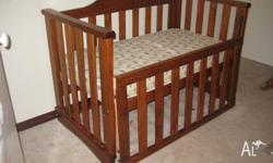 Very solid, good condition, solid wood. This cot can be