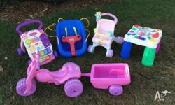 Selection of baby toys including Little Tikes swing,