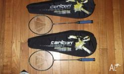 2 carlton hi modular graphite badminton racquets with