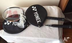 Badminton racquets (x2), shuttlecocks (x4) Racquets are