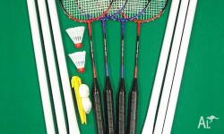 With poles, net, 4 racquets, Shuttlecock Comes in a