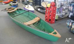 This plastic fishing canoe comes with two seats,