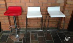 1 x Red Gas Lift Bar Stool 2 x White / Chrome Bar
