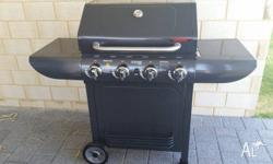 4 Burner hooded BBQ, Only used once, 4 weeks old. Just