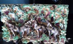 Hand Made Elephant Plaque (Hand Painted Plaster with