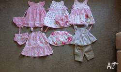 SIZE 0 GIRLS CLOTHING. 4 DRESSES, 1 TOP AND SHORTS SET