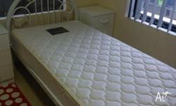 Pick up only - text only Single bed, white metal