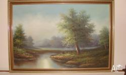 THIS LOVELY PIECE OF ART IS OF A TRANQUIL SETTING ALONG