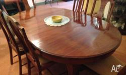 Large 6 seater antique French polished Blackwood dining