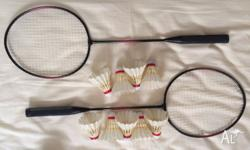 2 bedminton rackets and 9 shuttlecocks Rackets used