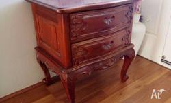 Bedside Cabinet Mahogany by Hand $125 firm For sale
