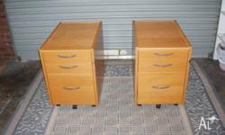 Bedside tables x2, pine, heavy and solid, on castors, 3