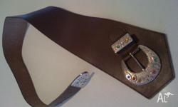 Very wide brown Leather belt, non pliable, ideal for
