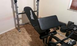 Inclined Bench Press, with attachments for bicep and