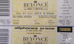 2 x Gold GA tickets to the sold out Beyonce concert in