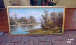 A Beautiful designed long water art painting framed,