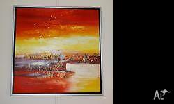 Big square painting in aluminium frame. Attractive and