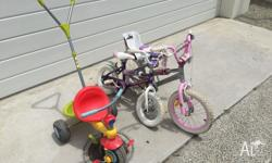 Three children bikes in good condition. For ages from 2